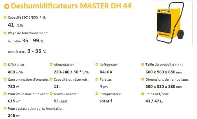 Location de déshumidificateurs - Master DH 44