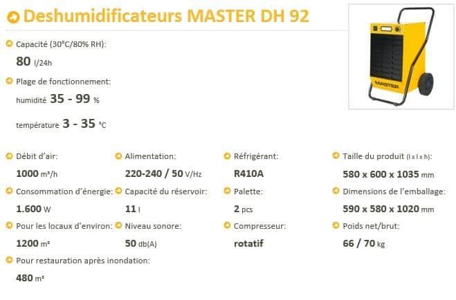 Location de déshumidificateurs - Master DH 92